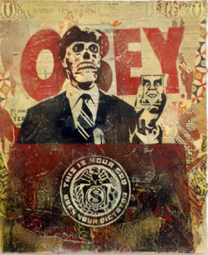 300px They Live Stencil Collage on Paper PLAIN SIGHT